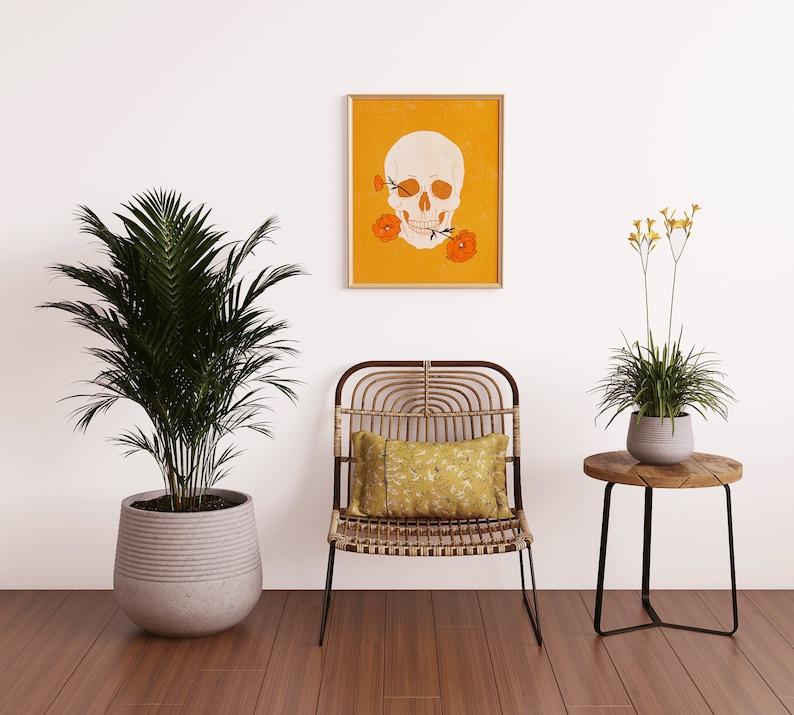 Boho Art Print Skull Art Skull Print Printable Wall Art Modern Art Mid Century Art Gallery Wall Printable DOWNLOAD