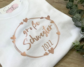 T-shirt big sister offspring with year announcement pregnancy baby sibling