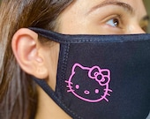 Flat Hot Pink Hello Kitty Inspired Design Face Mask. 100 COTTON