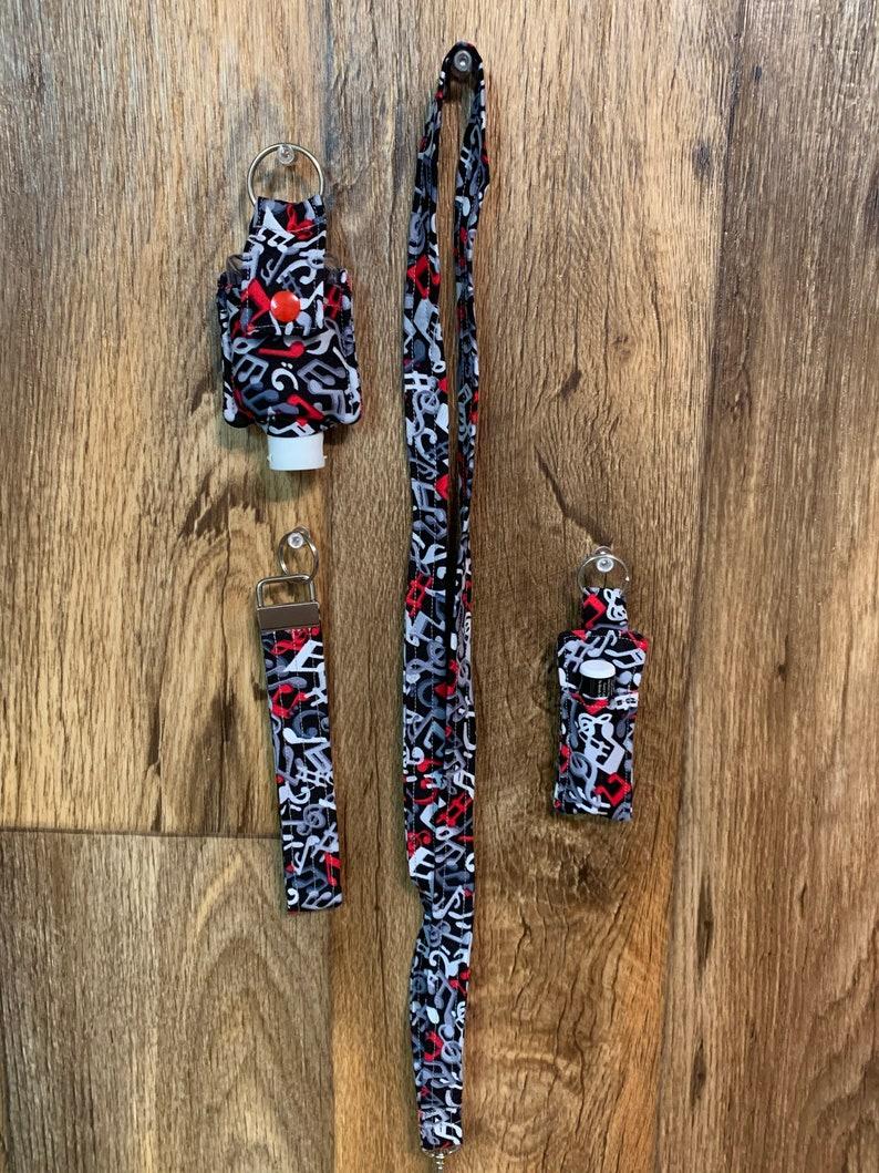 4 Piece Matching Set Key Fob Hand Sanitizer holder Lanyard Chap Stick holder