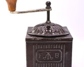 Vintage Coffee Grinder - Circa 1900 s - Early Tin Box Coffee Grinder - Marked F and B with Three Cross Swords.