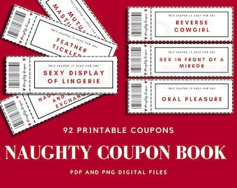 Naughty Sex Coupons Valentines Gift for Him Dirty Love Coupons Coupon Book Love Coupons for Boyfriend Husband
