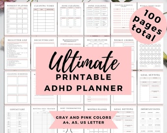 ADHD Planner Adults, ADHD Journal, ADHD Productivity, Complete Life Binder, adhd organization