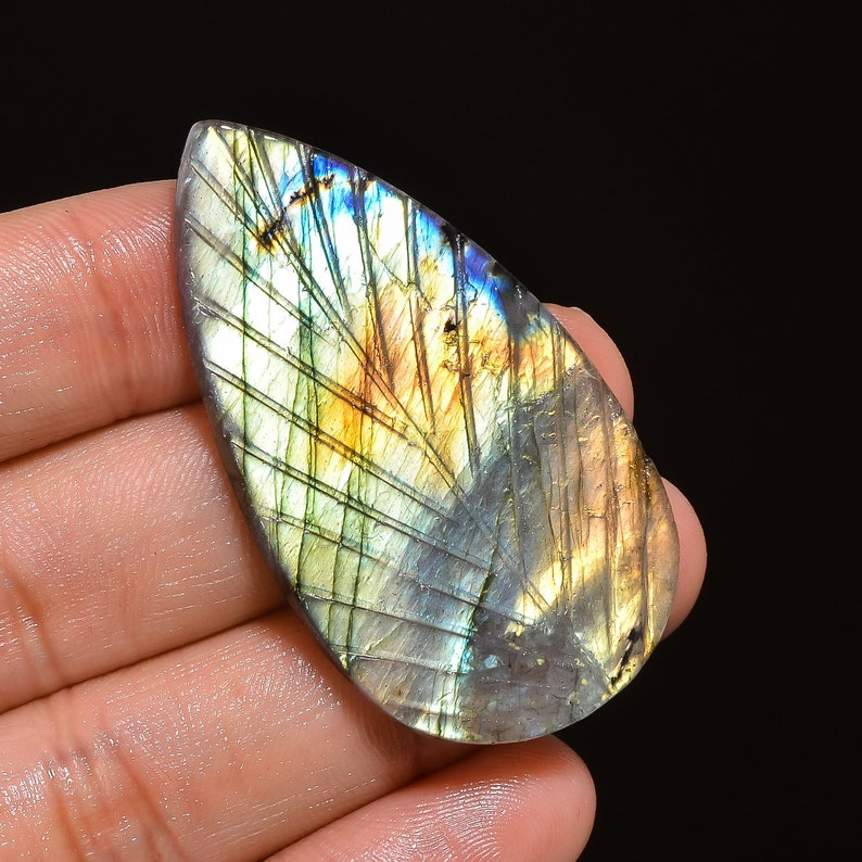 49X27X4 mm R-6357 Splendid Top Grade Quality 100/% Natural Labradorite Pear Shape Carved Loose Gemstone  For Making Jewelry 49 Ct