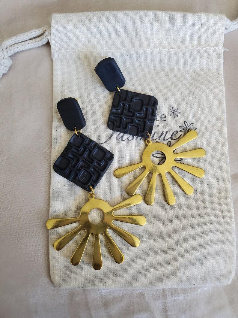 LUNA Dangle Earrings with Brass Charm