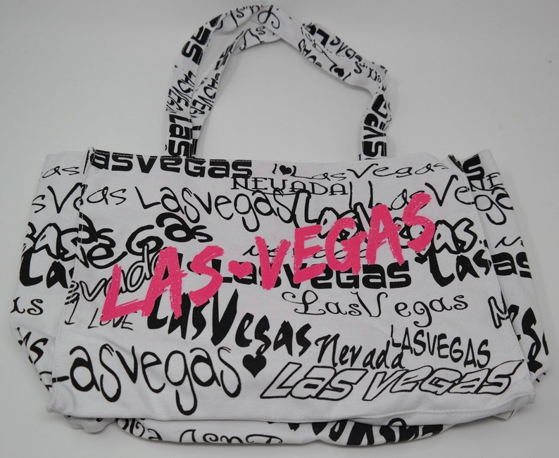 Las Vegas Canvas Tote Bag Shopping Bag With Embroidery