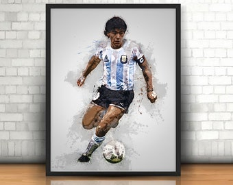 Gift Diego Maradona Poster Football Legend Wall Art Print Frame Accessories
