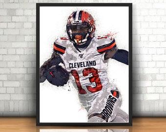 Football Poster Sports Art Print Wrap Wall Decor Cleveland Browns Odell Beckham Jr Poster Kids Decor Man Cave Gift Canvas Print