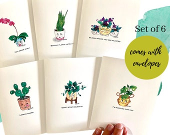 set of eight 2 of each design Potted Plant Notecards with Matching Envelopes