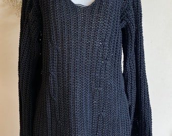 XS ANN DEMEULEMEESTER Vintage Sweater Goth Avant-Garde Sweater Tunic Size oversized black Sweater with deep V-Neck
