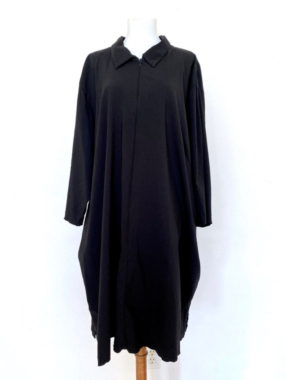 VTG Minimal black witch zipper dress, Black smock
