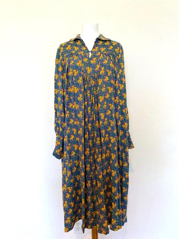 Vintage Peasant Floral Dress, Boho, Fall Dress:Siz