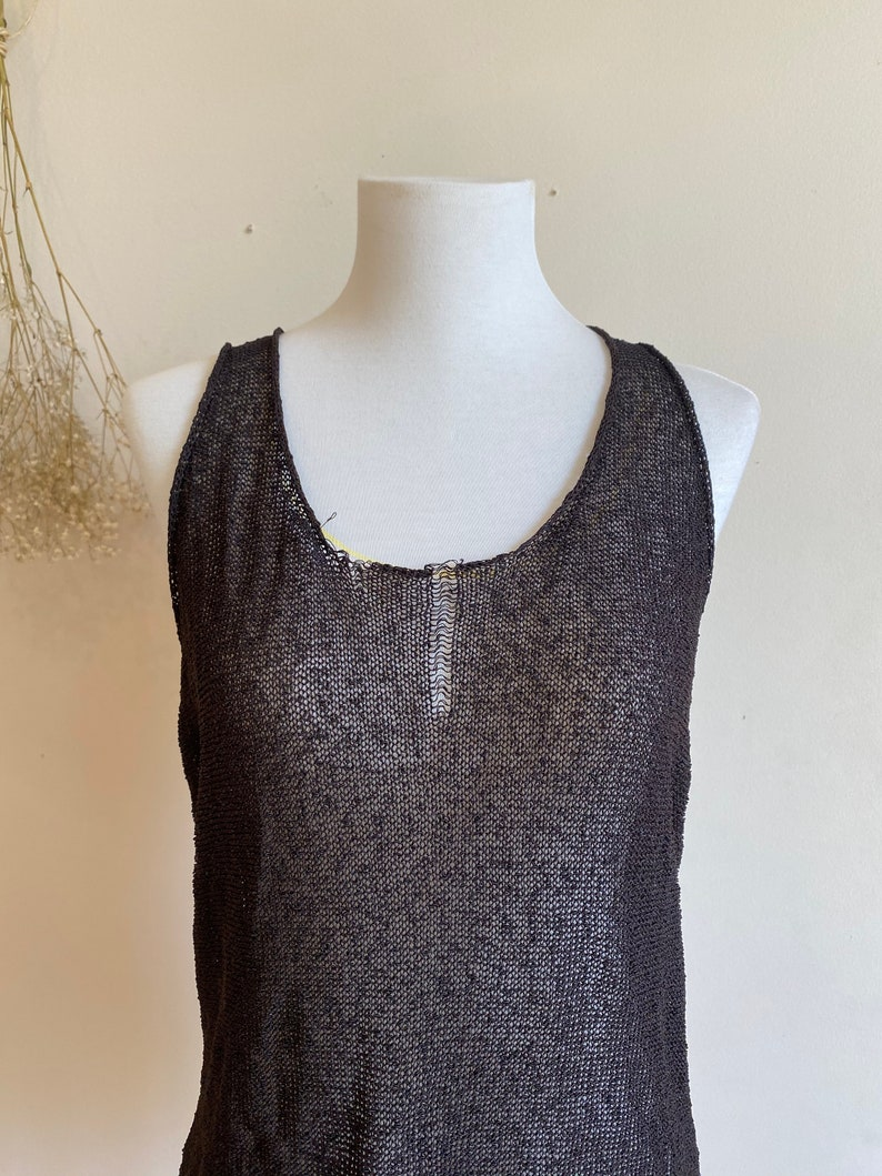 S,M Vintage minimalist knit top punk sheer top Size grungy