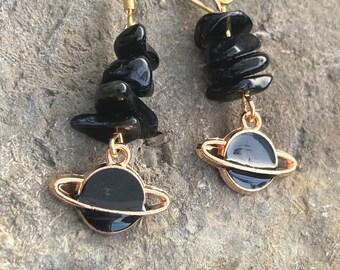 Black Obsidian planet earrings / black obsidian jewellery / gemstone jewellery / planet earrings / celestial jewellery