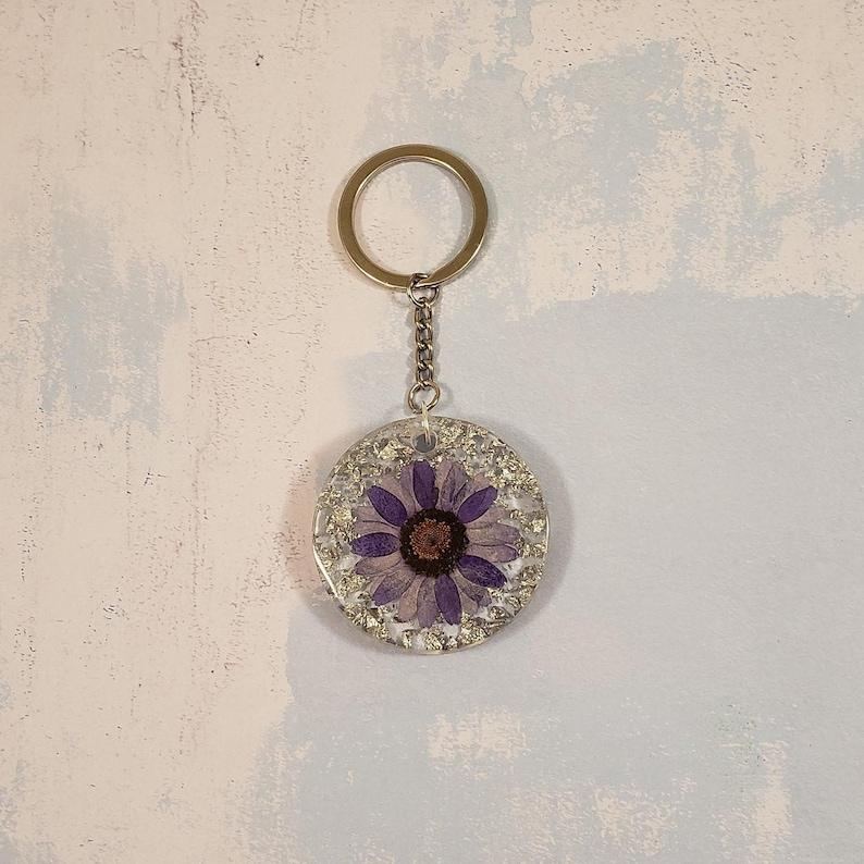 Purple Daisy Keychain
