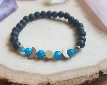 Witchcraft White Howlite Lava Beads Moon Phase Jewelry Lunar Jewelry Goddess Jewelry