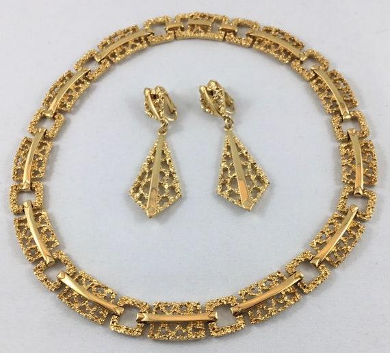 1970s Gold Tone Necklace Choker Earrings Brutalist