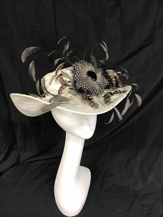 Lady Diana Feather Brim Hat Ivory ,Stunning Hat, … - image 1