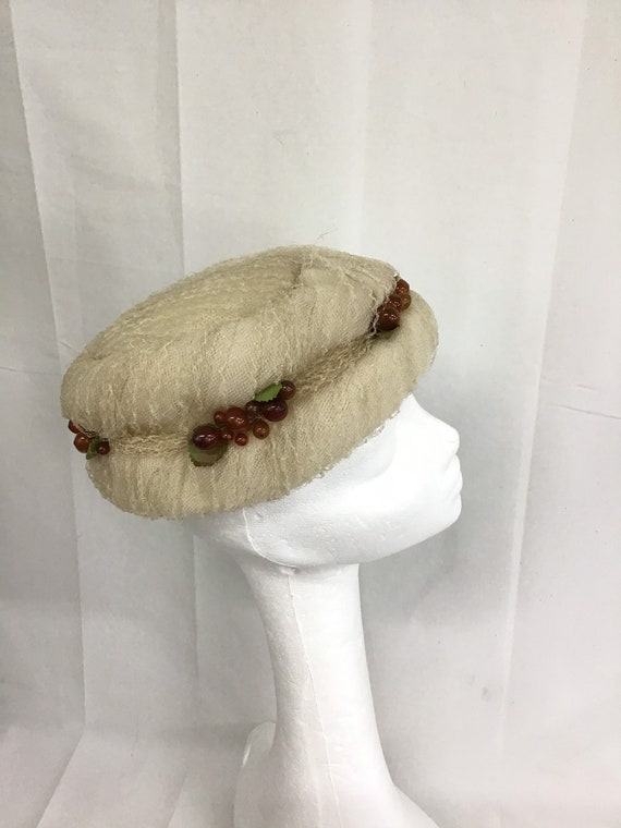 VINTAGE Christian Dior 1940s Ladies Hat/ Tulle Lac