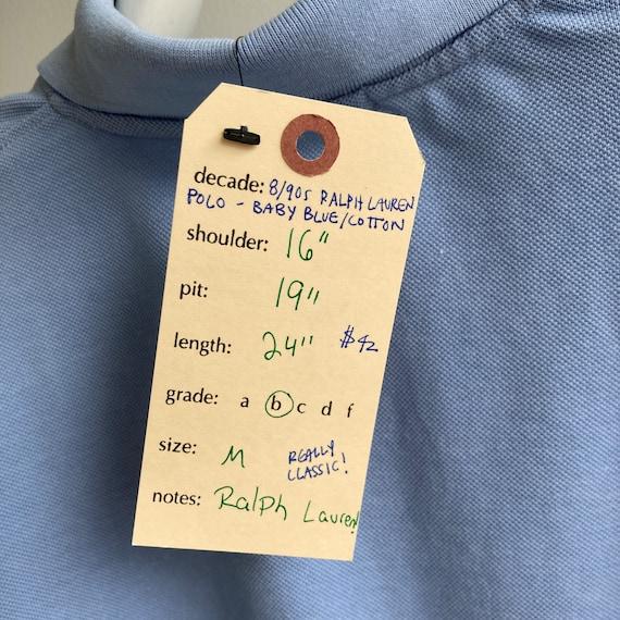Vintage 80s/90s Ralph Lauren Polo - Baby Blue/Cot… - image 9