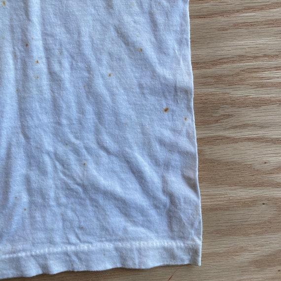 Vintage 80s Blank White V-Neck T-Shirt - image 9