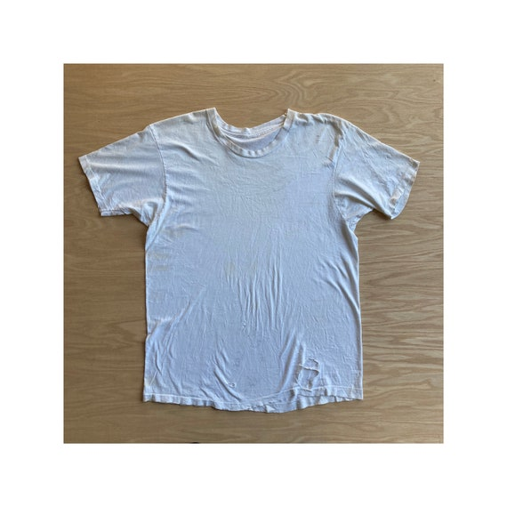 Vintage 90s Beat Up White Blank T-Shirt - image 1