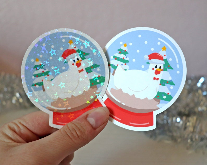Sweetums Snow Globe Vinyl Sticker 3 inch Christmas Holidays waterproof holo sticker for your phone laptop or water bottle