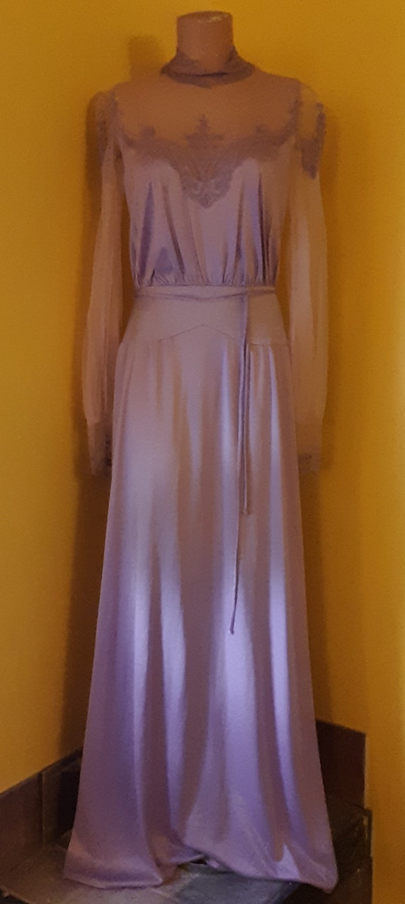1970s Vintage Lavender Polyester Lace Tulle Prom o