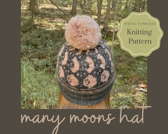 Many Moons Hat // Knitting Pattern // Easy Colorwork Knit Hat Pattern