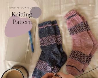 Soft Morning Socks // Simple Colorwork Pattern // Digital Download Indie Knitting Pattern