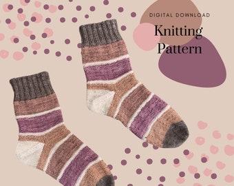 Cozy Scrappy Socks // Easy Mini Skein Sock Pattern // Knitting Pattern