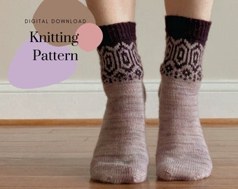 Intertwined Sock Pattern // Simple Colorwork Sock Pattern // Comfy Hand Knit Sock Pattern