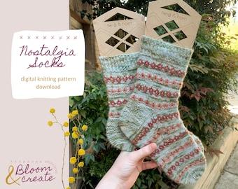 Nostalgia Socks // Knitting Pattern // Colorwork Knit Socks // Simple Handknit Socks Pattern