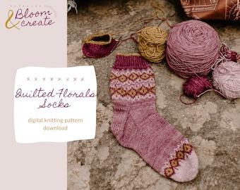 Quilted Florals Socks // Colorwork Sock Pattern Digital Download