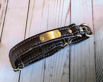 Personalized Leather Alternative Matching Dog Leash /& Martingale Collar Set With Nameplates