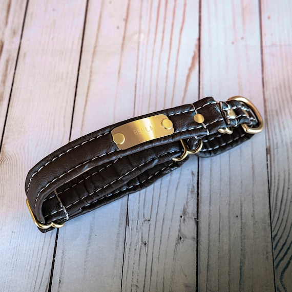 Personalized Leather Alternative Martingale Dog Collar With Nameplate