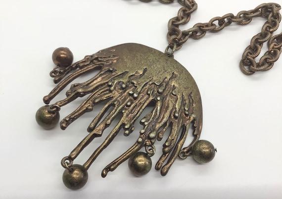 Vintage 70s Brutalist Jellyfish Chain Necklace Pen