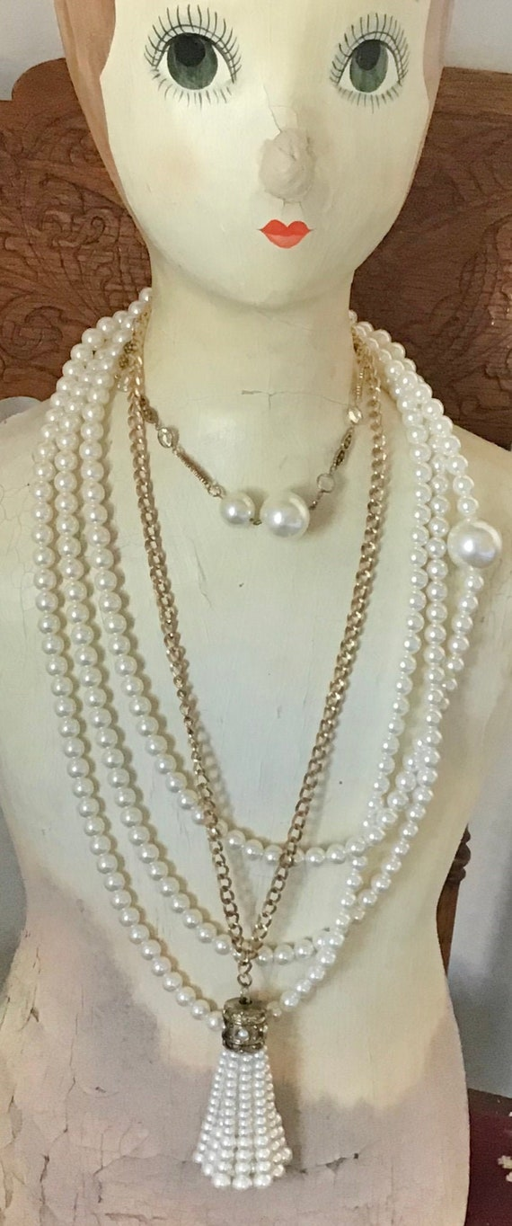 Lot of 3 Vintage Pearl Tassel Bead Necklaces Frenc