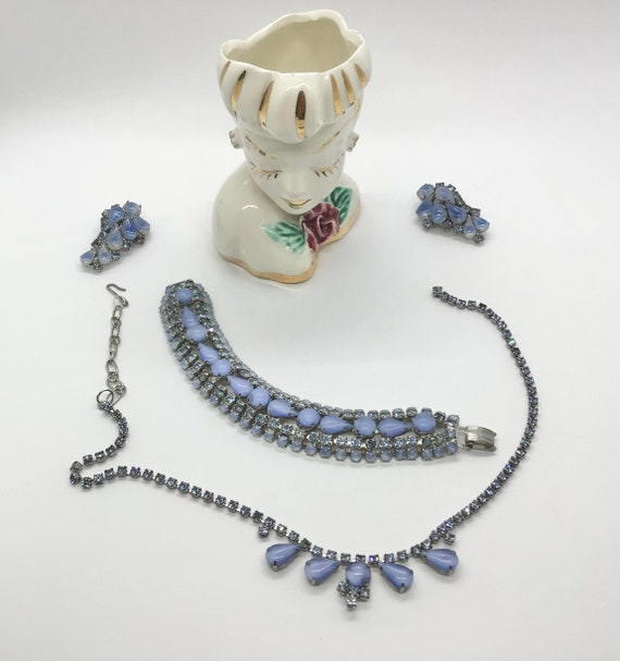 Hand painted jewelry. Cornflowers Earings necklace set