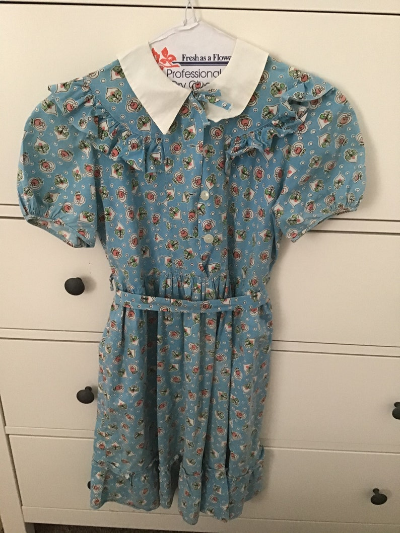 Vintage 50s Blue Cotton Floral Dress Girls Size 7 A-line Handmade Kid\u2019s White Collar Dress