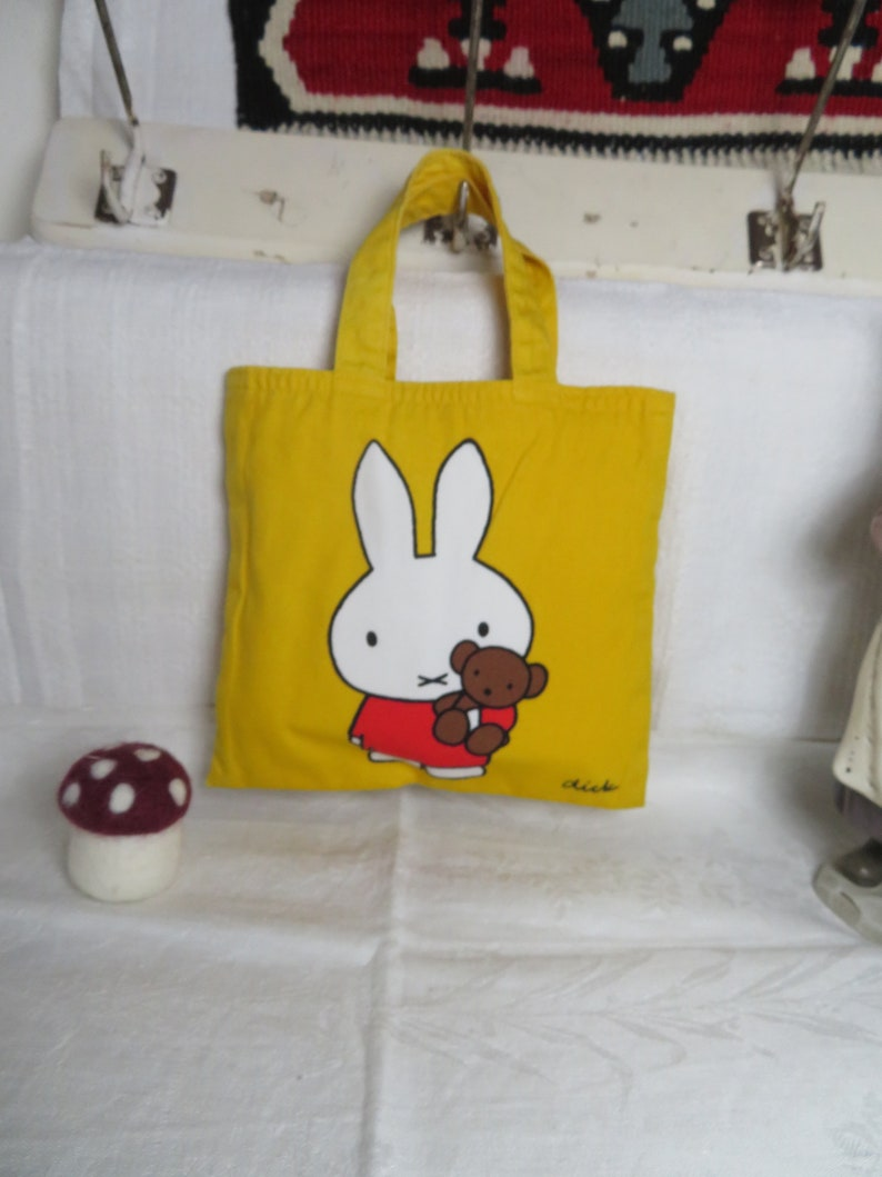 Yellow Fabric Bag by Dick Bruna 1967 Miffy Bunny Teddy Mini Shopper Bag by Otto Maier Publisher Ravensburg Vintage Surprise Gift