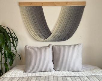 Large Extra Full Gray / Grey Ombré Dip Dye Fiber Art Yarn Wall Hanging