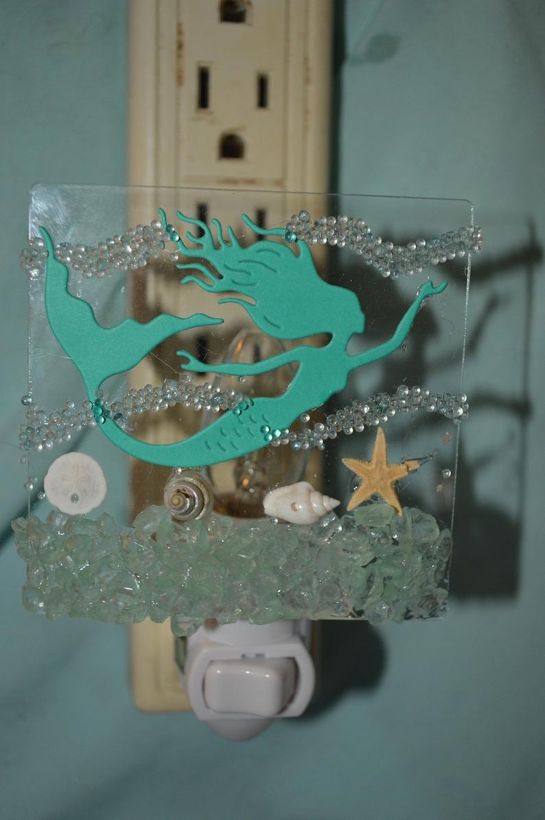 NL78 Coastal swimming mermaid ocean scape starfish sand dollar seashells seaglass Night Light Nightlight