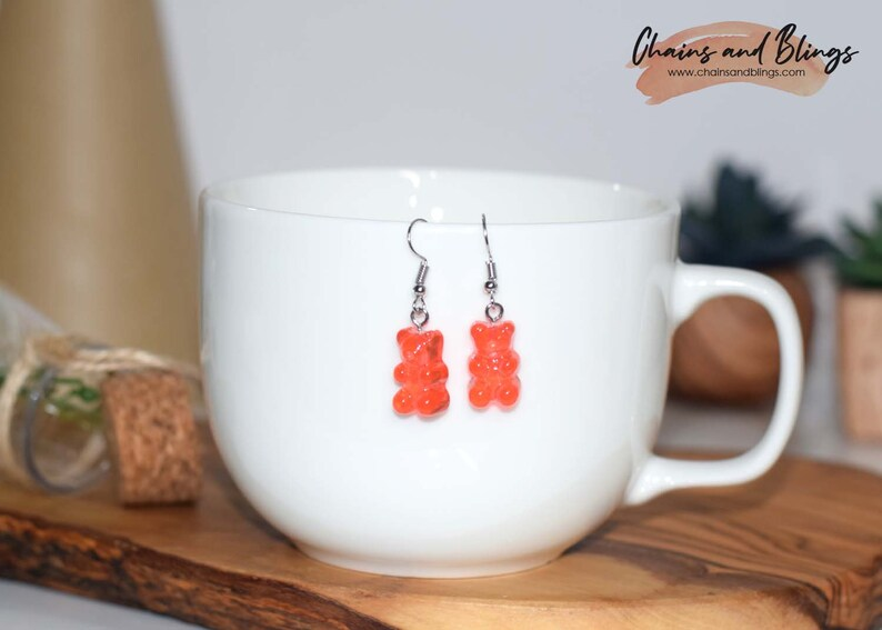 Playful Accessories Candy Earrings Statement Earrings Girls Earrings BFF Earrings Red Gummy Bear Earrings