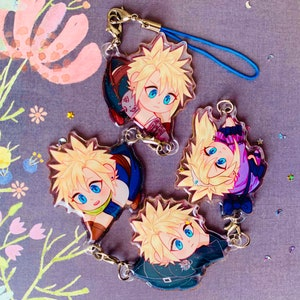 FF7 Cloud Strife Final Fantasy VII Kawaii Acrylic Charm FFVII Keychain Final Fantasy 7 Charms Vincent Valentine Sephiroth Aerith