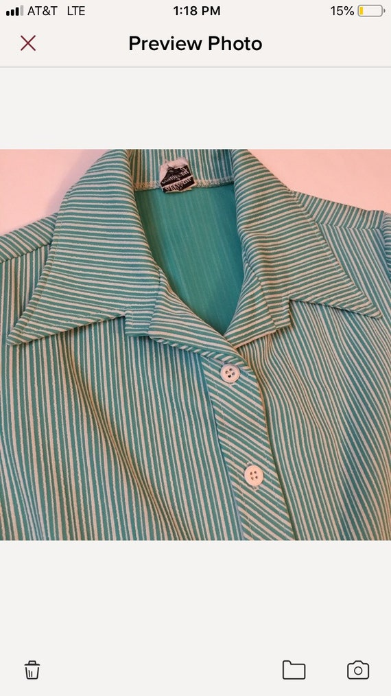Vintage 1970s Woven Leather Color Blocked Short Sleeve Tunic Top Medium