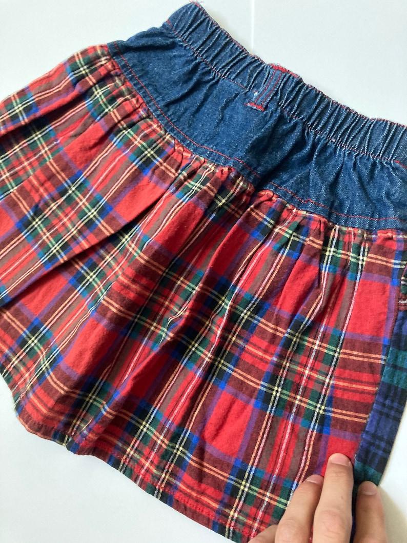 Vintage girls 5 western plaid skirt  denim skirt 90\u2019s red green blue
