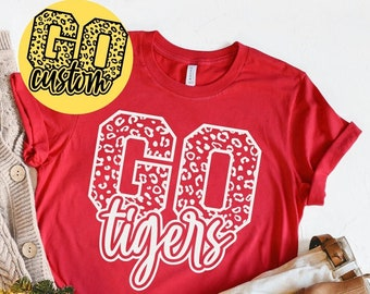 Go Tigers Shirt, Leopard Tigers T-Shirt, School Team Spirit Tee, Football Go Tigers Tshirt, NFL Women's Outfit, NFL Fan Gift, Go Custom Tee