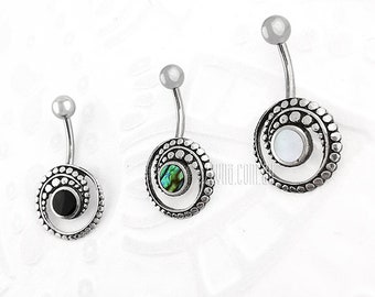 Silver and Steel navel belly ring with Black Pearl, Abalone or Mother of Pearl