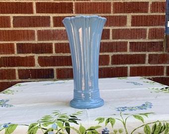 Fiesta Vintage Periwinkle Blue Ceramic Vase Medium Flared Flower Vase Retired Color / 1980s
